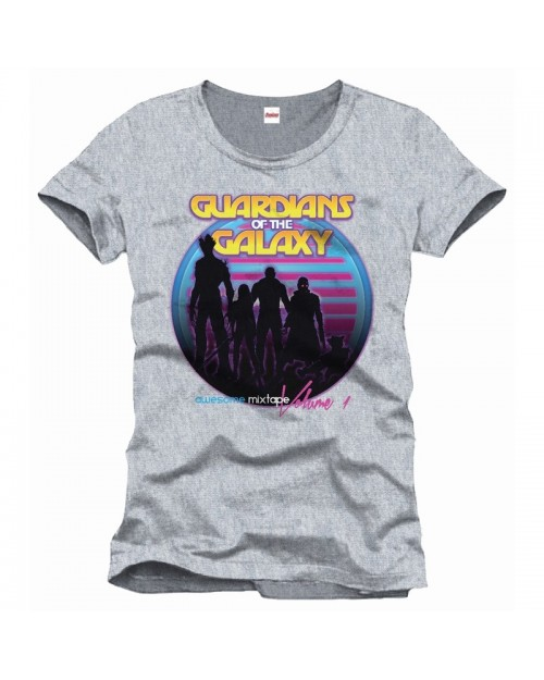 OFFICIAL MARVEL COMICS GUARDIANS OF THE GALAXY SILHOUETTE 'AWESOME MIXTAPE VOL 1' GREY T-SHIRT