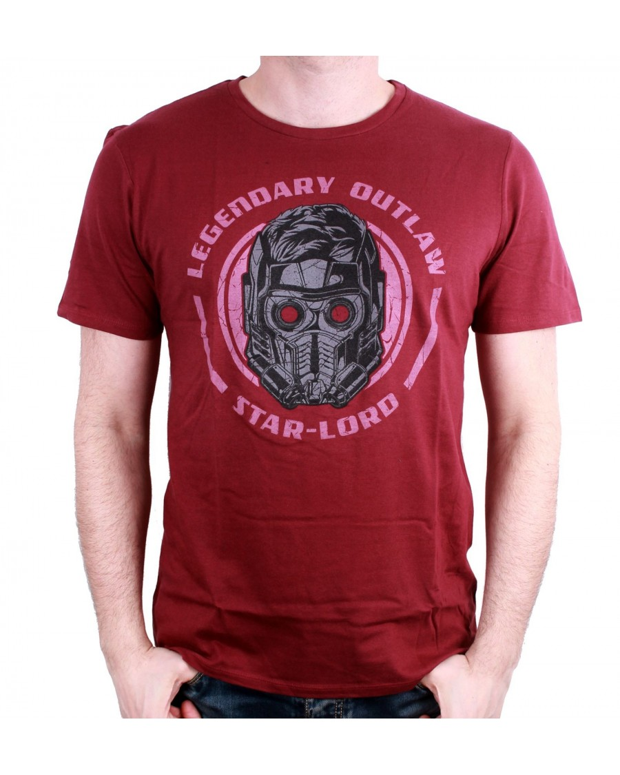 OFFICIAL MARVEL COMICS GUARDIANS OF THE GALAXY STAR-LORD 'LEGENDARY OUTLAW' MAROON T-SHIRT