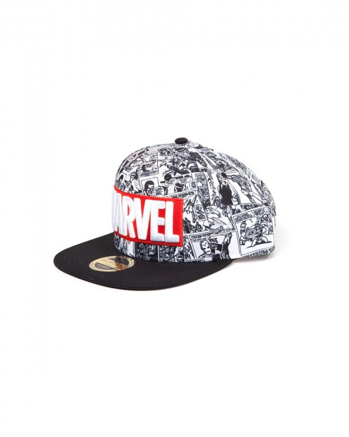 OFFICIAL MARVEL COMICS LOGO WITH ALL OVER BLACK & WHITE COMIC PRINT SNAPBACK CAP