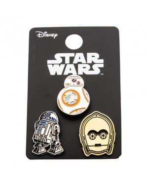 OFFICIAL STAR WARS - BB-8, R2-D2 & C-3PO (DROIDS) SET OF 3 METAL ENAMEL PIN BADGE