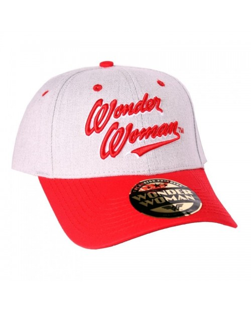 OFFICIAL DC COMICS - WONDER WOMAN TEXT GREY AND RED STRAPBACK BASEBALL CAP