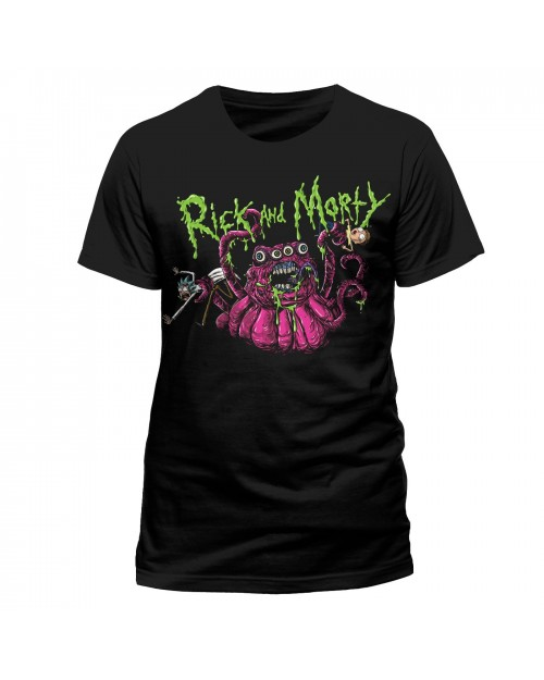 OFFICIAL RICK AND MORTY MONSTER SLIME BLACK T-SHIRT