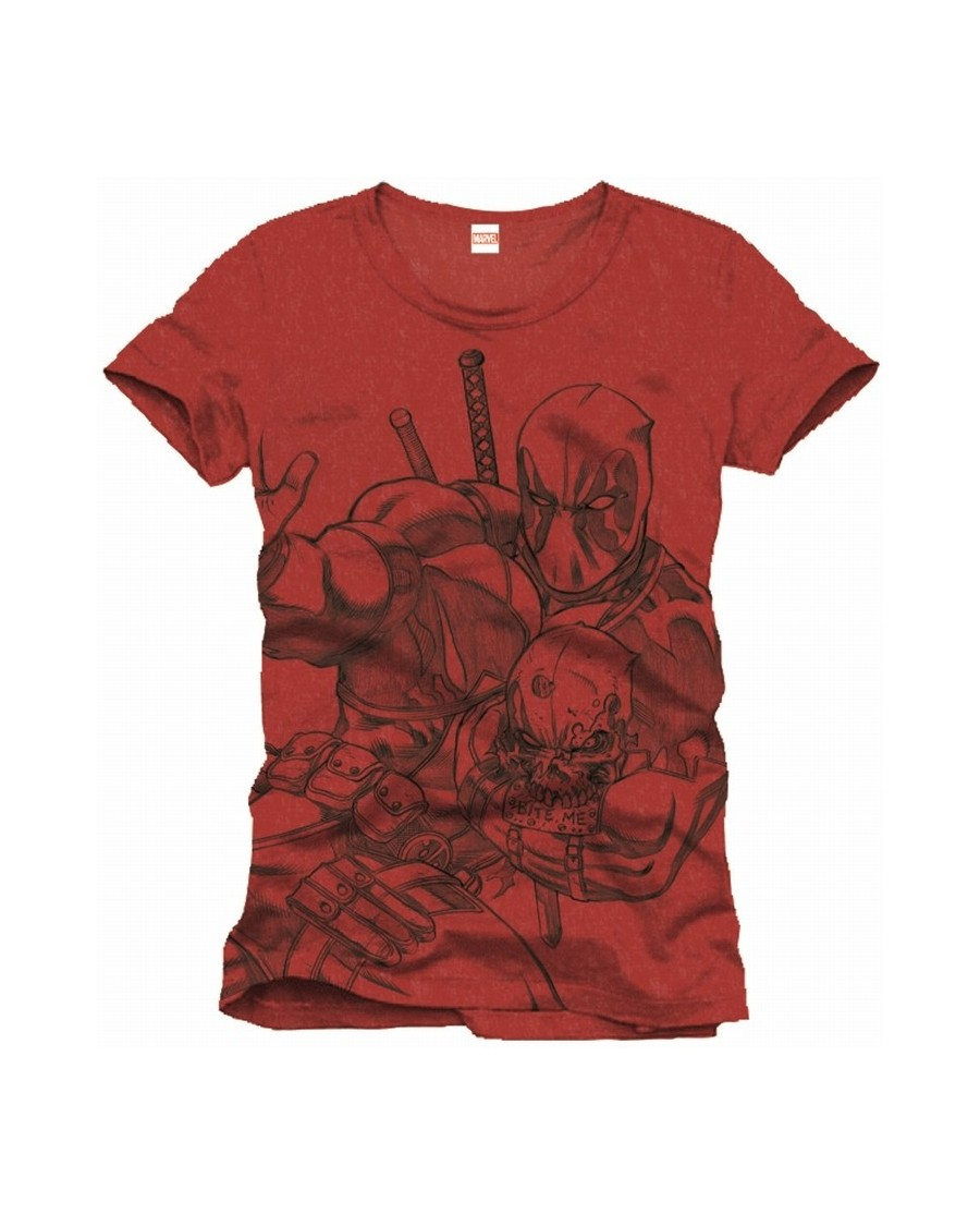 OFFICIAL MARVEL COMICS - DEADPOOL SKETCH/ DRAWING RED T-SHIRT