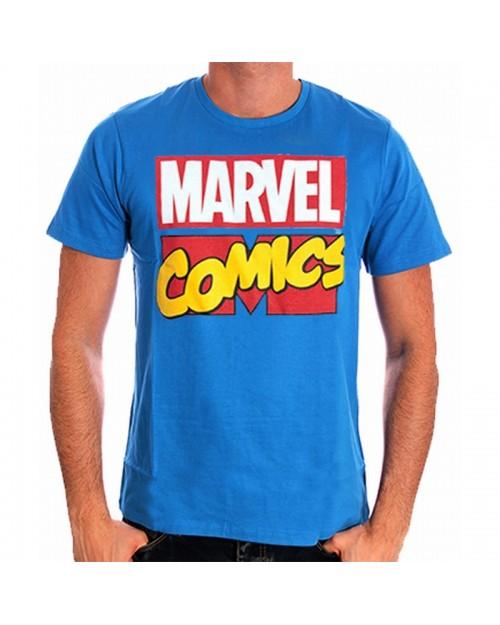 AWESOME MARVEL COMICS CLASSIC LOGO BLUE T-SHIRT