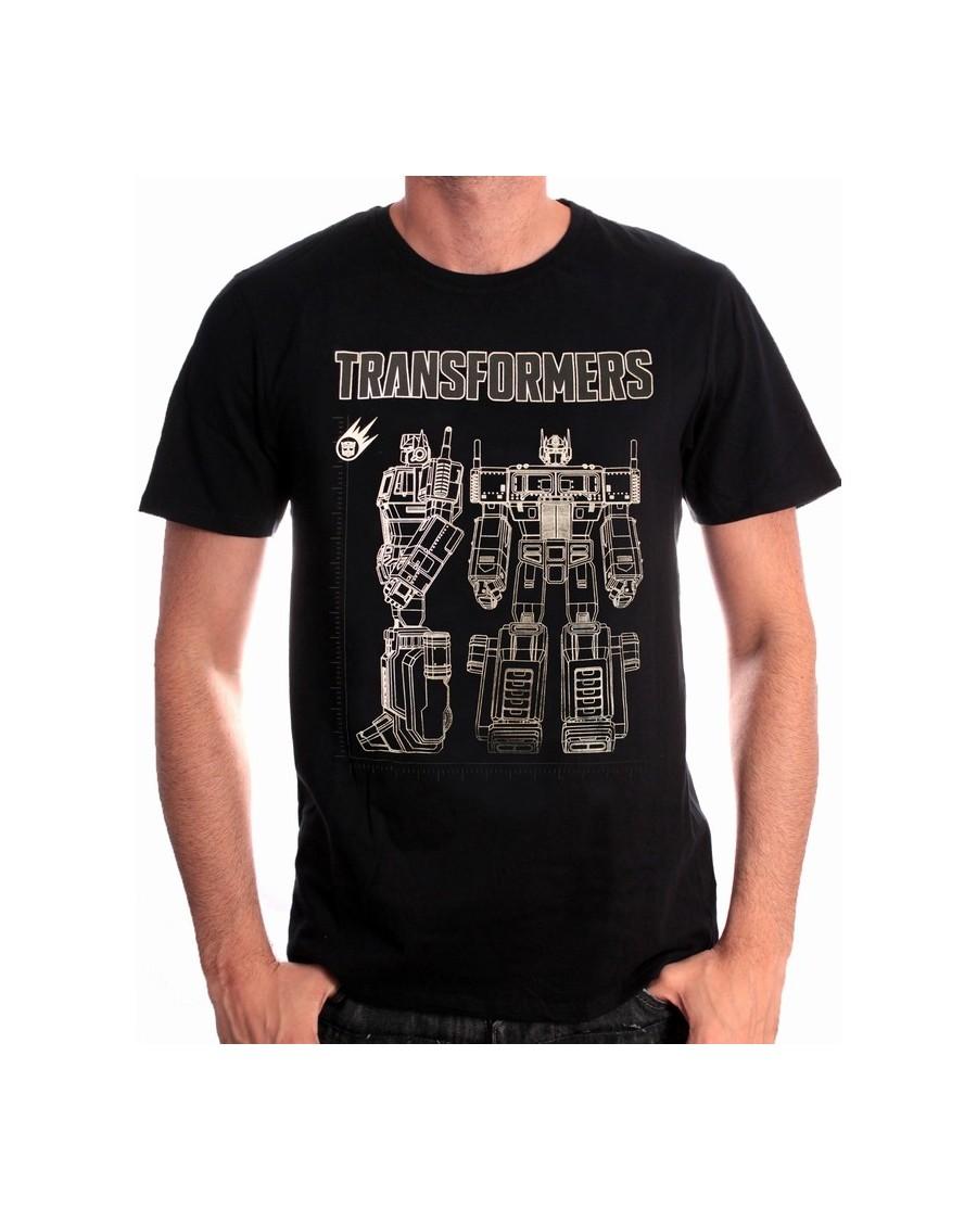 OFFICIAL TRANSFORMERS - OPTIMUS PRIME FRONT & SIDE BLACK T-SHIRT