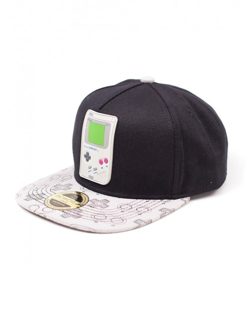 OFFICIAL NINTENDO'S RUBBER GAME BOY PATCH BLACK SNAPBACK CAP WITH PRINTED VISOR