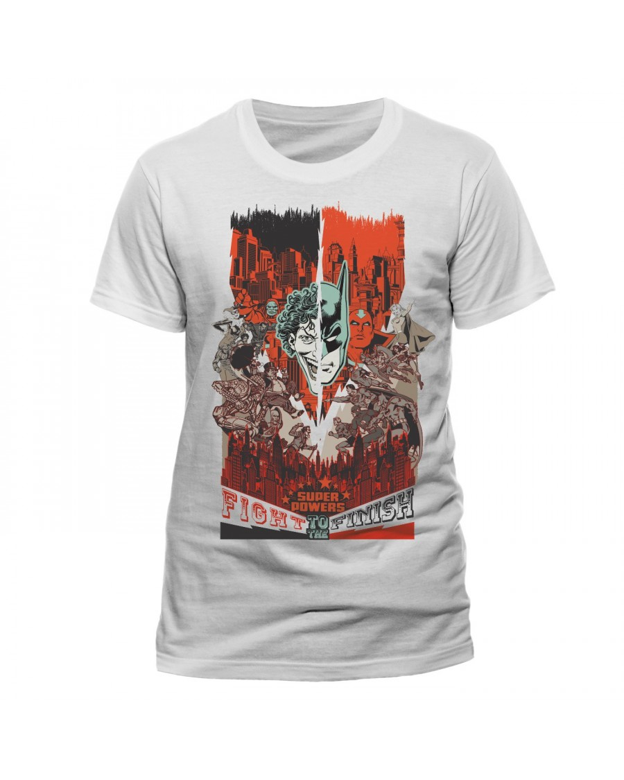 OFFICIAL DC COMICS - BATMAN VS THE JOKER (WITH ALLIES) 'FIGHT TO THE FINISH' POSTER STYLED WHITE T-SHIRT