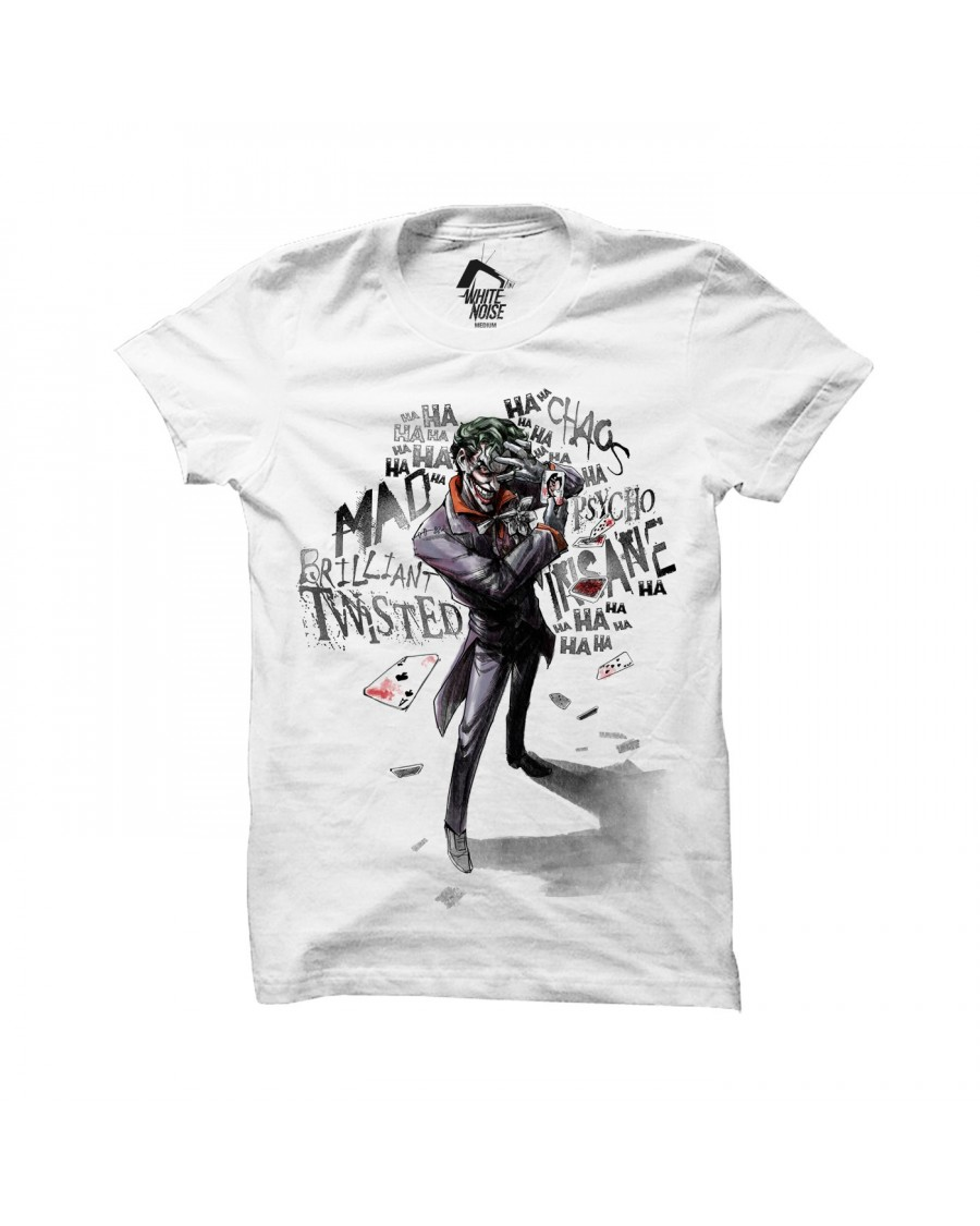 OFFICIAL DC COMICS - THE JOKER TWISTED, MAD, BRILLIANT WHITE T-SHIRT