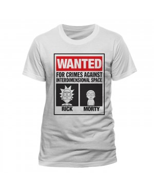 OFFICIAL RICK AND MORTY - WANTED POSTER 'FOR CRIMES AGAINST INTERDIMENSIONAL SPACE' WHITE T-SHIRT