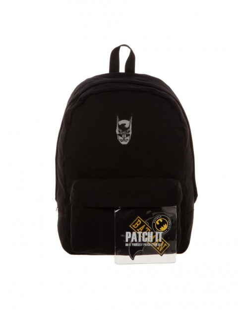 OFFICIAL DC COMICS - BATMAN MASK - PATCH & PIN IT YOURSELF BLACK BACKPACK