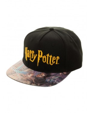 OFFICIAL HARRY POTTER TEXT LOGO BLACK HOOK & LOOP CAP WITH PRINTED VISOR