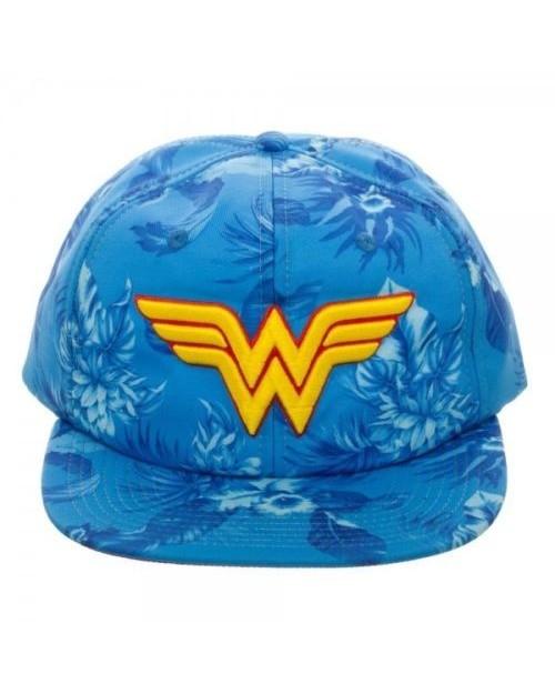 OFFICIAL DC COMICS - WONDER WOMAN CLASSIC SYMBOL TROPICAL FLORAL PRINT SLOUCH CAP