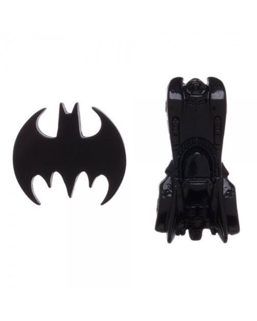 OFFICIAL DC COMICS BATMAN - BAT SYMBOL AND BATMOBILE BLACK PIN BADGES
