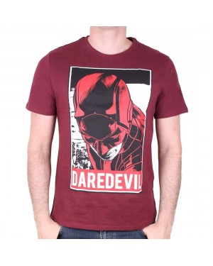 OFFICIAL MARVEL COMICS - DAREDEVIL OBEY STYLED BURGUNDY T-SHIRT
