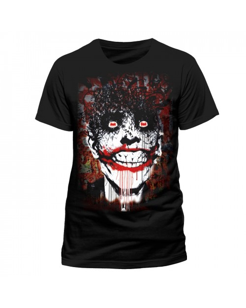 OFFICIAL DC COMICS - BATMAN ARKHAM THE JOKER BATS PRINT BLACK T-SHIRT