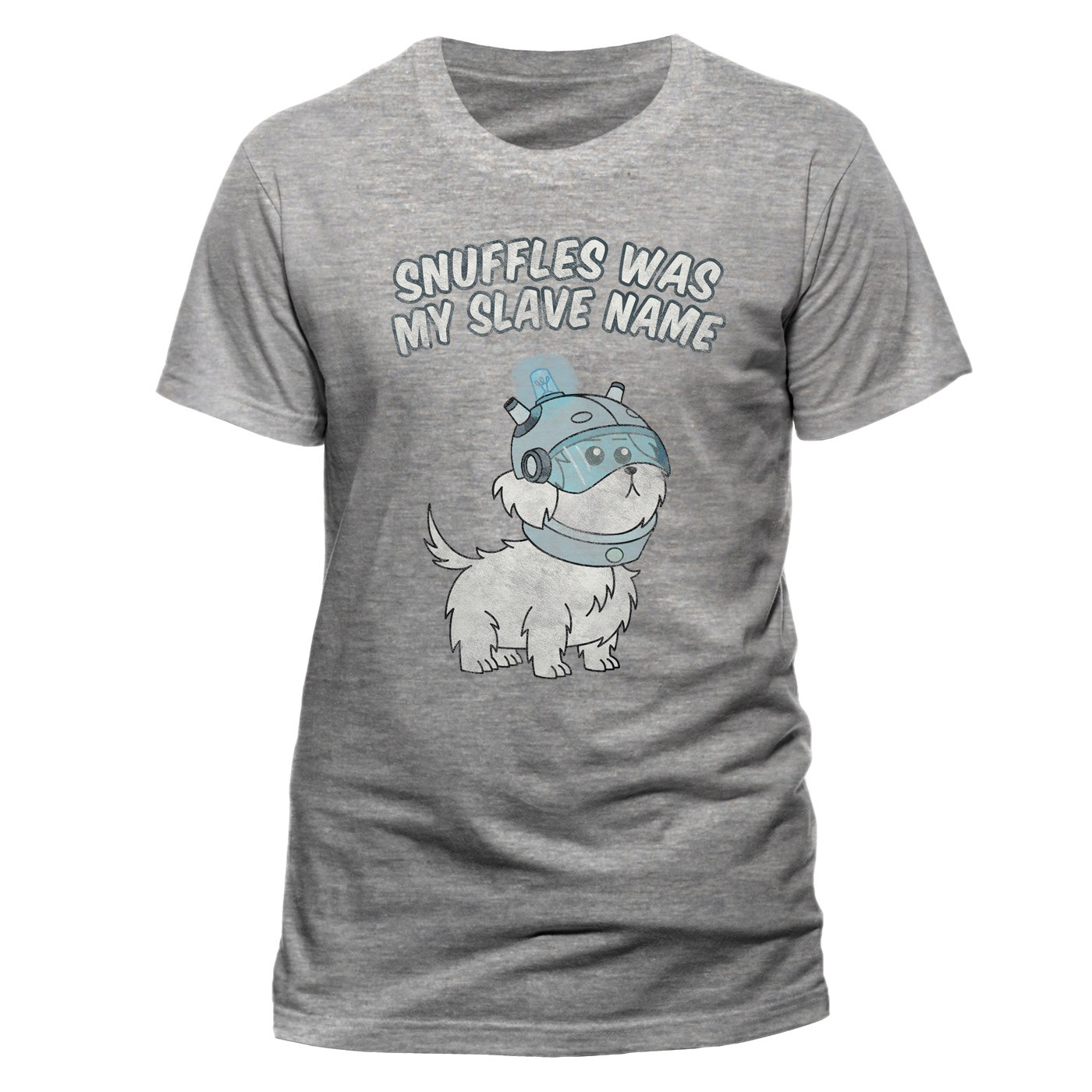 """OFFICIAL RICK AND MORTY /""""SNUFFLES WAS MY SLAVE NAME/"""" GREY T-SHIRT NEW"""