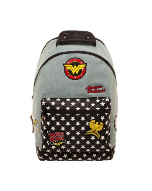 OFFICIAL DC COMICS - WONDER WOMAN DENIM PATCHES BACKPACK BAG