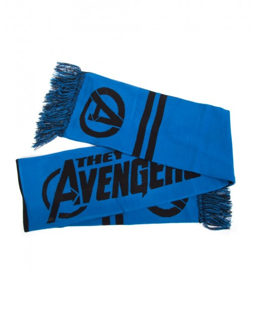OFFICIAL MARVEL COMICS - 'THEY'RE THE AVENGERS' BLUE & BLACK SYMBOL KNITTED SCARF