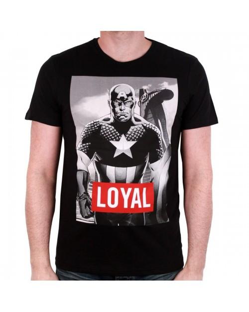 OFFICIAL MARVEL COMICS - CAPTAIN AMERICA BLACK AND WHITE PRINT 'LOYAL' TEXT BLACK T-SHIRT