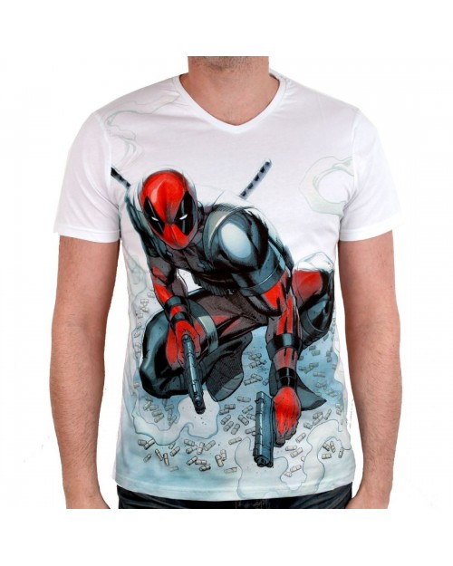 OFFICIAL MARVEL COMICS - DEADPOOL BULLETS WHITE T-SHIRT