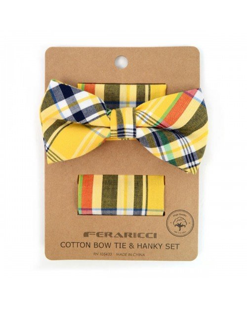 YELLOW PLAID COTTON BOW TIE & MATCHING POCKET SQUARE