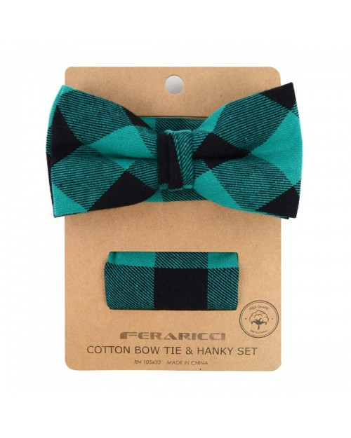 GREEN PLAID COTTON BOW TIE & MATCHING POCKET SQUARE