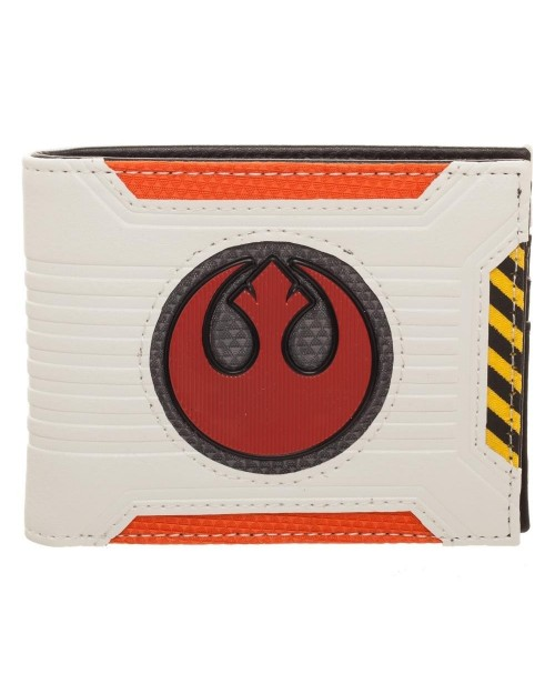 STAR WARS - REBEL ALLAICNE SYMBOL - PILOT STYLED WHIRE AND ORANGE BI-FOLD WALLET