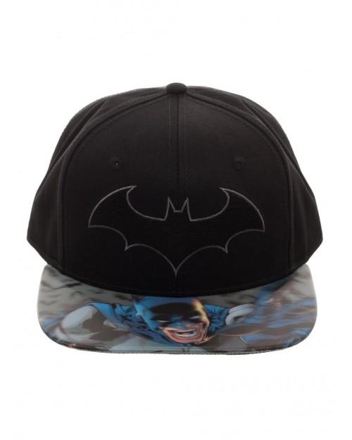 DC COMICS - BATMAN SYMBOL BLACK SNAPBACK CAP WITH PRINTED 3D VISOR