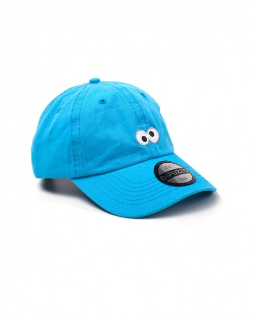 SESAME STREET - COOKIE MONSTER EYES BLUE STRAPBACK BASEBALL CAP 'DAD HAT'