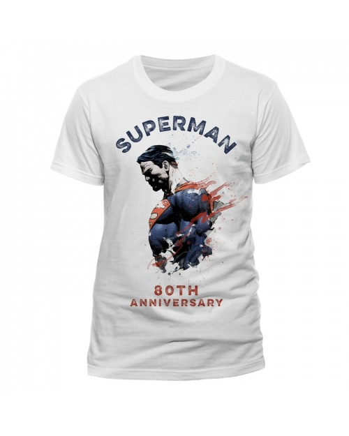 DC COMICS - SUPERMAN - 80TH ANNIVERSARY WATERCOLOUR DRIP WHITE T-SHIRT