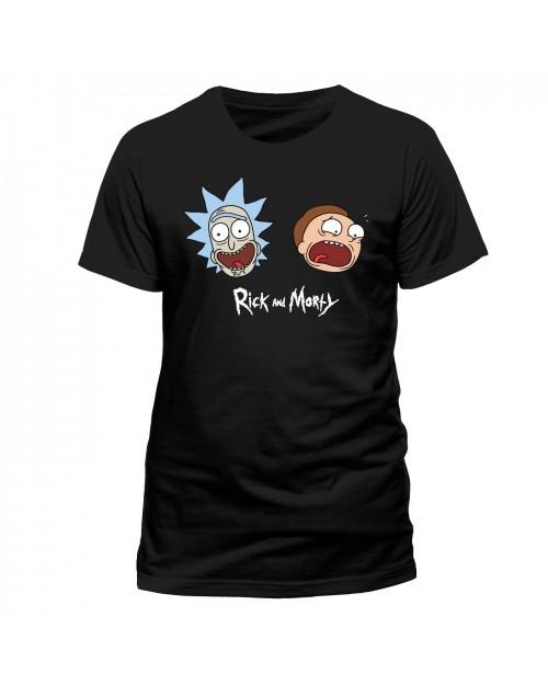 OFFICIAL RICK AND MORTY - FACES AND LOGO BLACK T-SHIRT